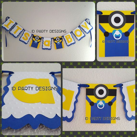 Baby Shower Banner Or Birthday Banner Minions Centerpiece Banner