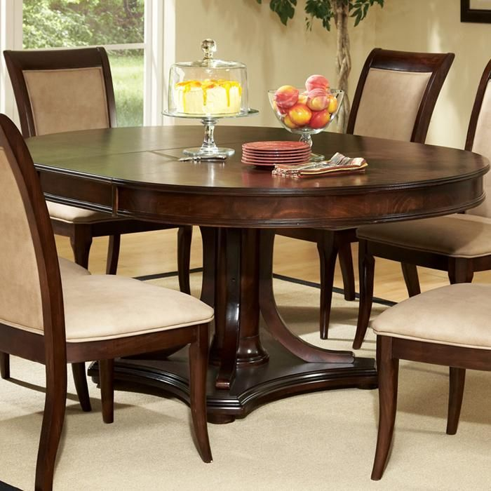 Marseille Round Dining Table In Dark Cherry Nebraska Furniture Mart With Images Pedestal Dining Room Table Dining Room Table Set Dining Table With Leaf