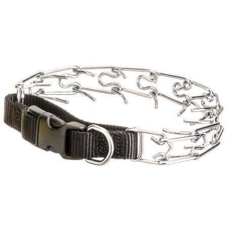 Titan Easy On Prong Dog Training Collar W Buckle Black Chrome