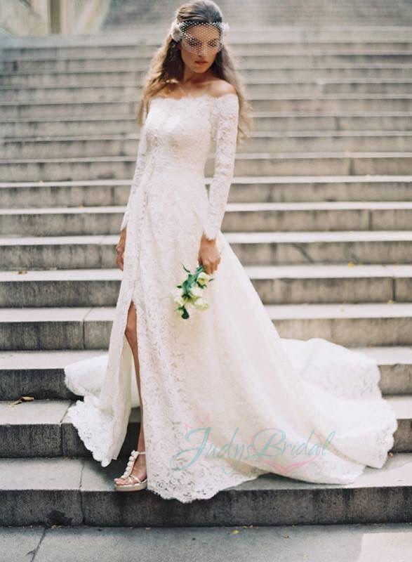 Amazing All Lace Off Shoulder Long Sleeves Boho Wedding Dress