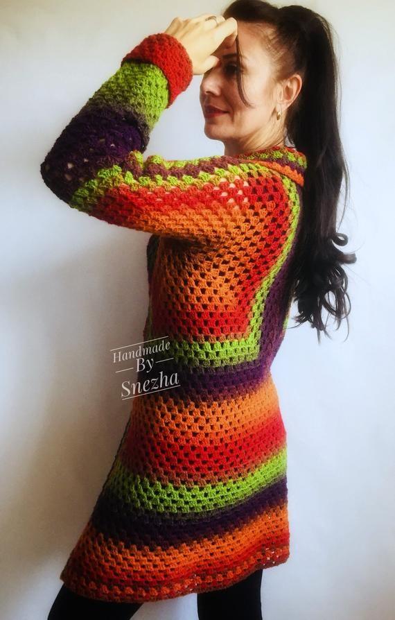 Burnt Orange Granny Square Knit Cardigan Women Wool Jacket | Etsy