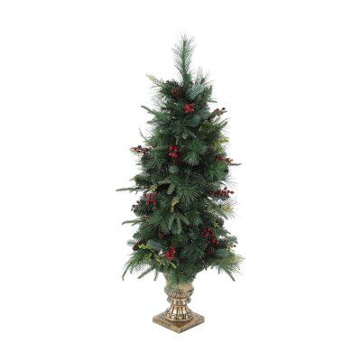 Winsome House 4 Ft Pre Lit Pine Cones And Berries Christmas Tree