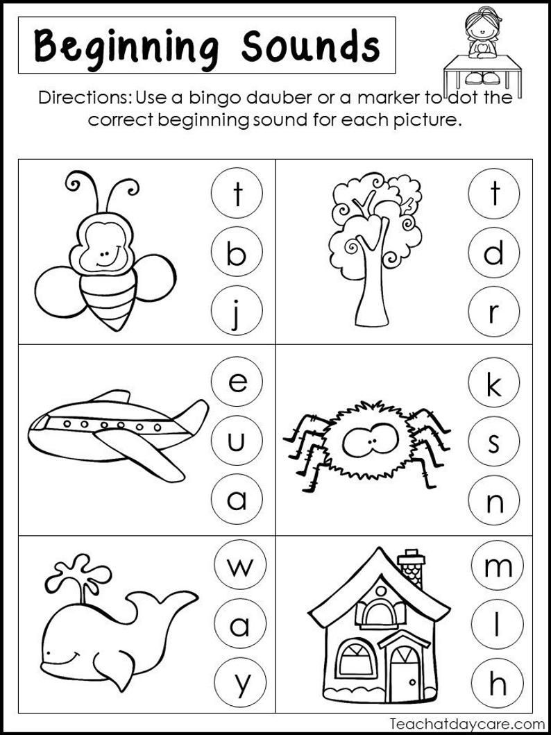 small resolution of 10 Printable Beginning Sounds Worksheets. Preschool-1st Grade   Etsy    Beginning sounds worksheets