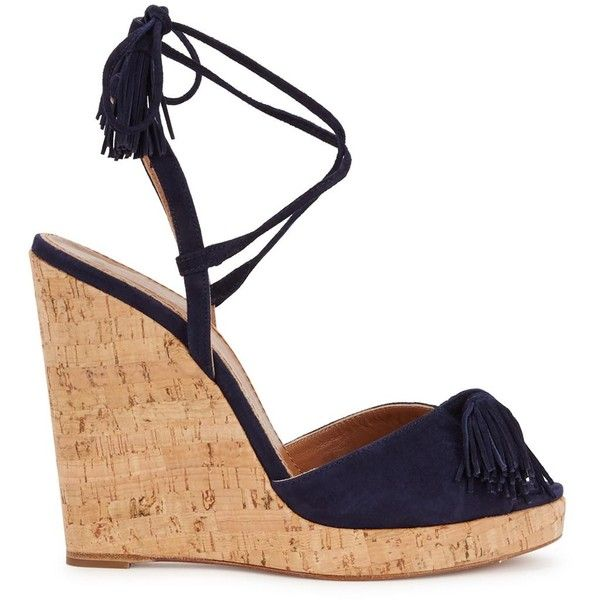 0cc755e529c Aquazzura Wild One Navy Suede Wedge Sandals (83.240 CLP) ❤ liked on ...