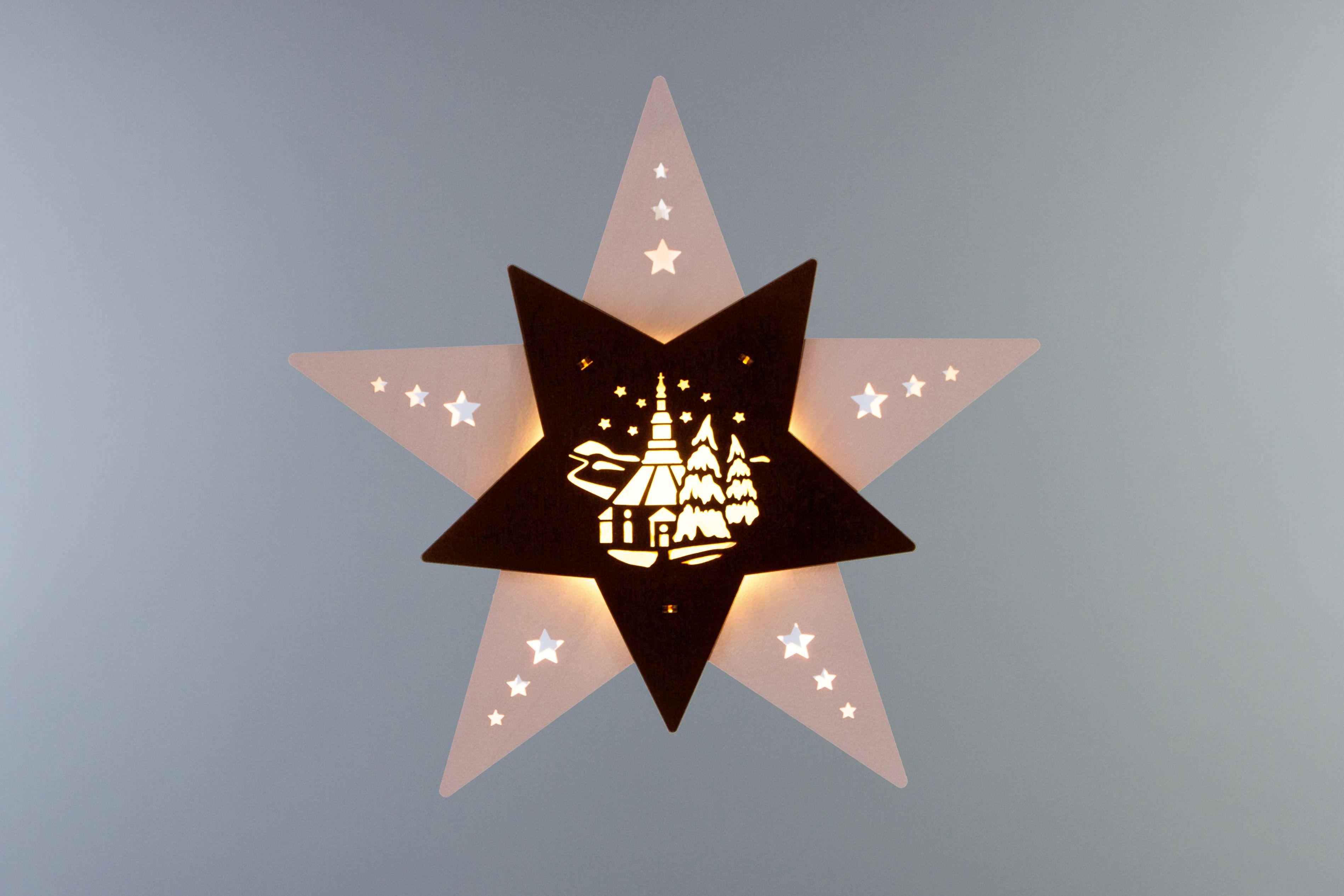 Weihnachtsdeko Seiffen.Fensterbild Stern Seiffener Kirche Weiß Braun Led Beleuchtete