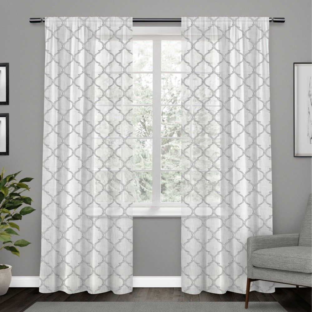 54 X84 Aberdeen Sheer Woven Trellis Embellished Hidden Tab Top