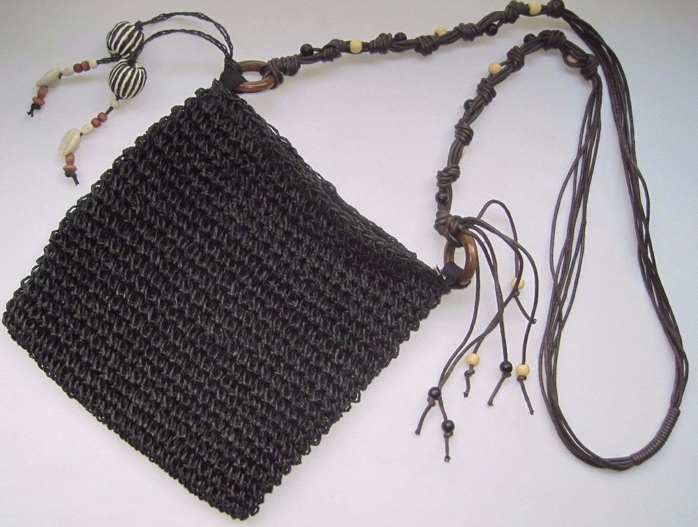 Sun N\' Sand Black Bohemian Crochet Zippered Top Bag With Big Beads ...