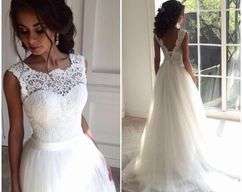 Photo of Illusion Neckline Wedding Dress, Lace and Tulle Wedding Dres…