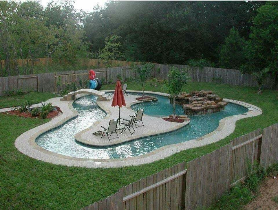 40 Inspiring Lazy River Pool Design Ideas With Images Backyard Pool Backyard Small Backyard Landscaping