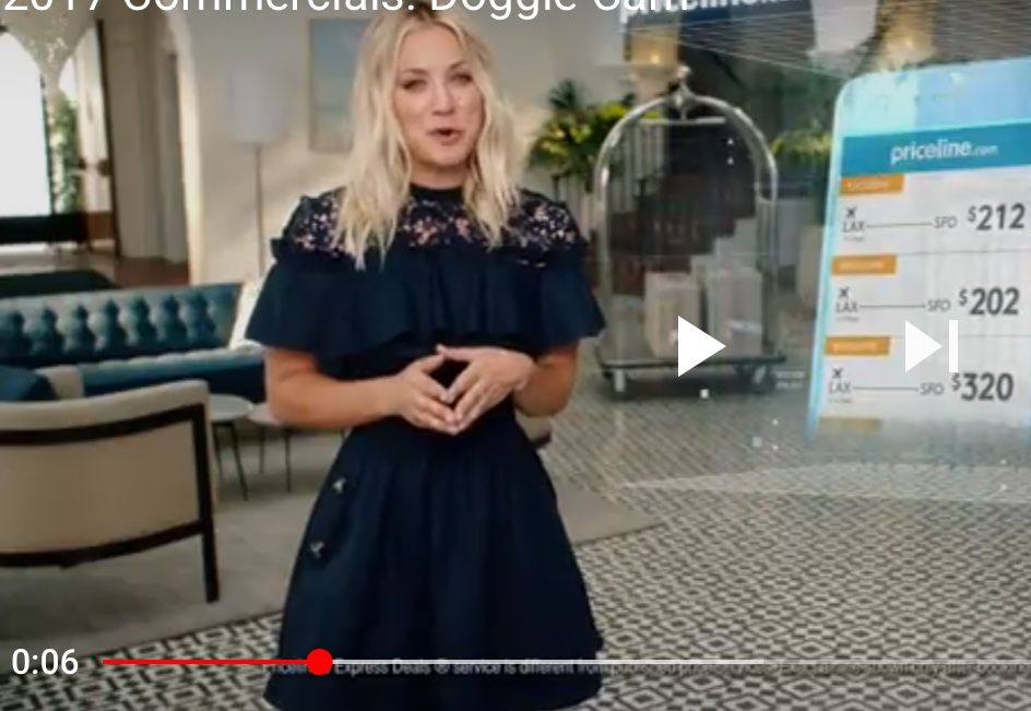 934872bc684 Image result for what blue dress is kaley cuoco wearing in priceline  commercial