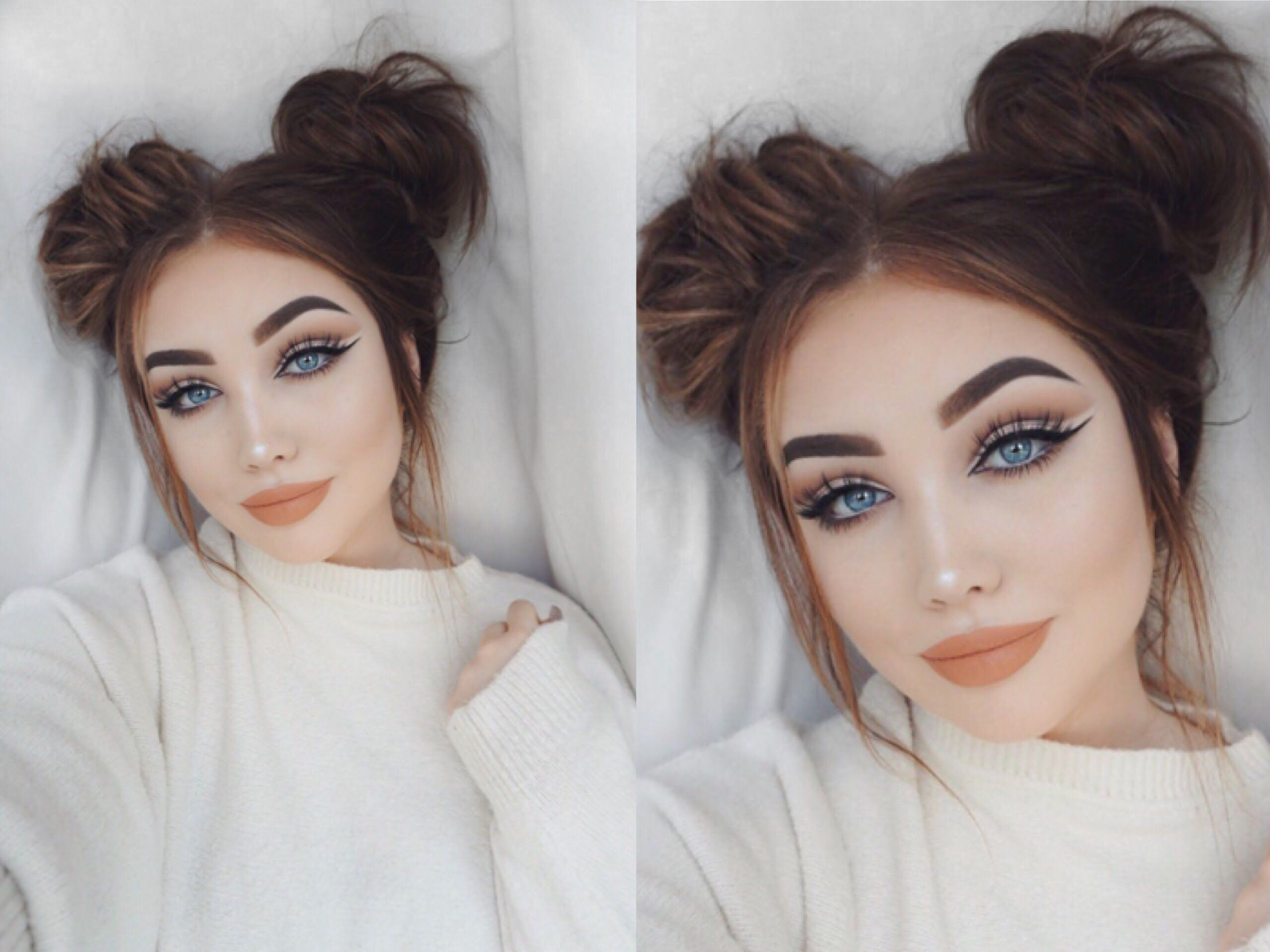 Space Buns Tutorial Hair Pinterest