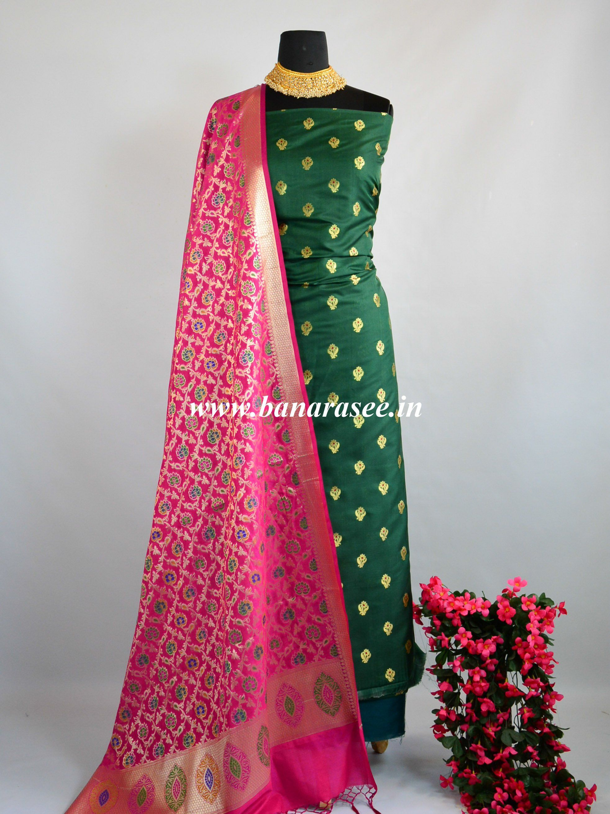 fd623c64250210 Salwar Kameez Semi Katan Silk Zari Buti Fabric With Contrast Dupatta ...