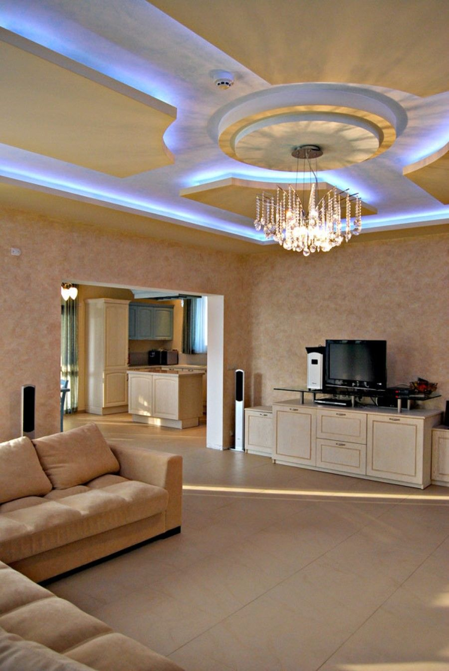 Kids Room False Ceiling Design: Fantastic Living Room Idea With Blue Hidden Ceiling Lights