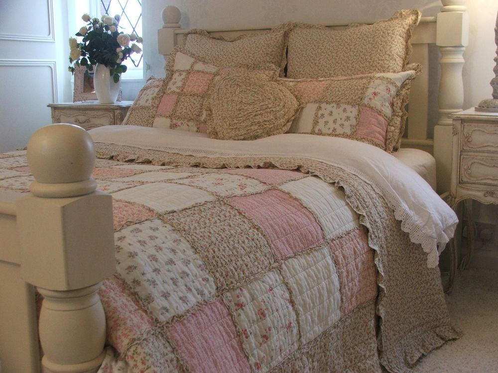 shabby chic pink floral ruffle king size patchwork quilt 100 cotton