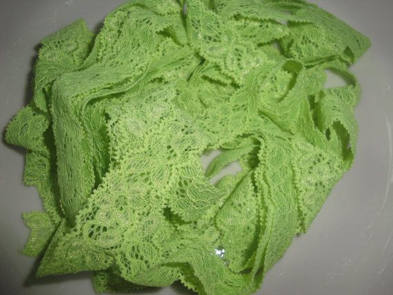"""3/4"""" lemongrass stretch lace headband for all ages $2.20; also sold by the yard for your own craft or project!"""