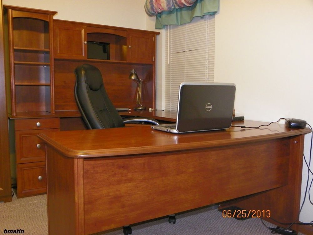 New U Shaped Office Executive Desk With Hutch Maple L Shaped