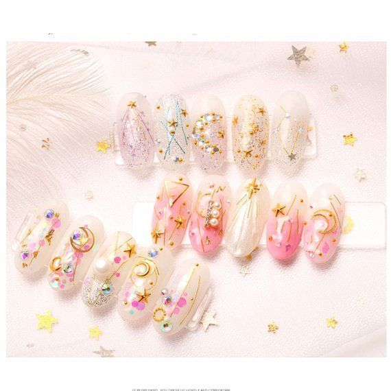 Japanese Popular DIY Nail Art Star Moon gems Jewelry Mixed Box Set Copper Plate Round Rivet Sequin Nail Ornament  メイクArt Japanese Popular DIY Nail Art Star Moon gems J...