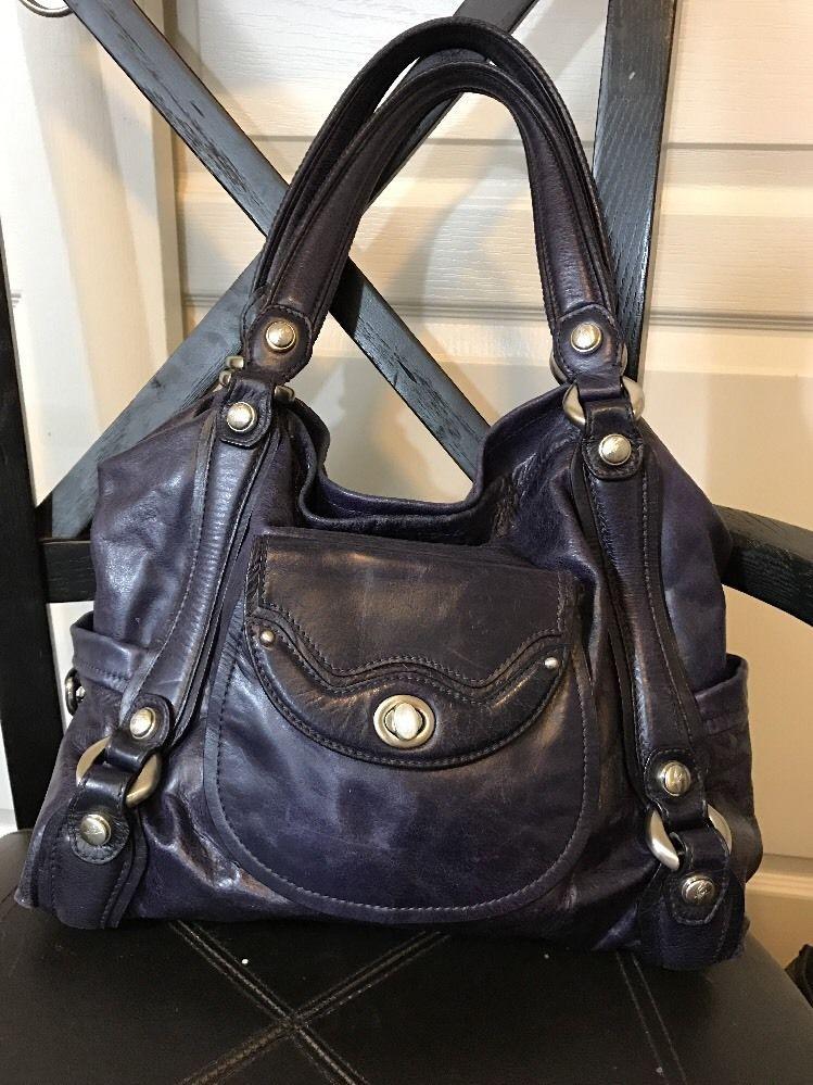 Cettu Italian Leather Satchel Handbag Tote Dark Purple Silver Turn Lock Gloved Ebay