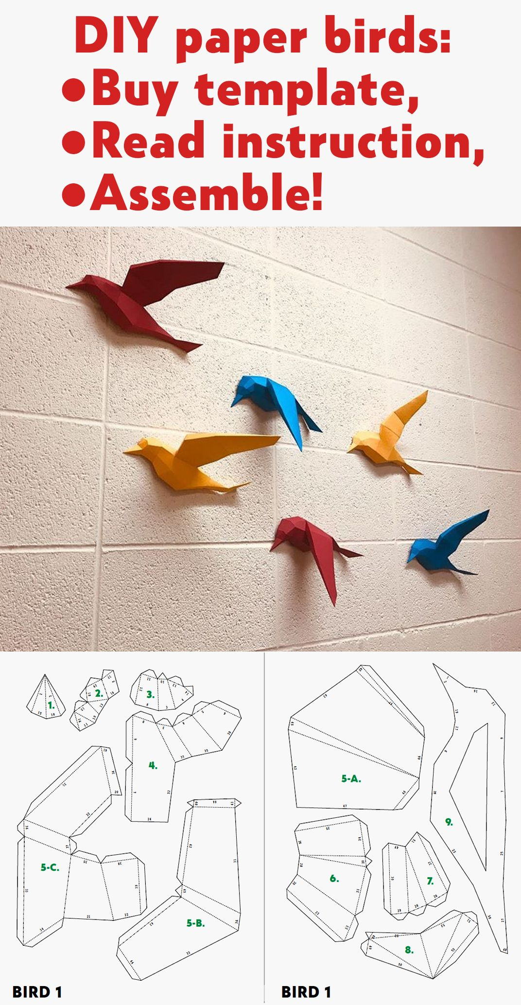 3d Papercraft Birds On Wall Diy Paper Model Sculpture Etsy Paper Crafts Paper Crafts Origami Paper Crafts Diy