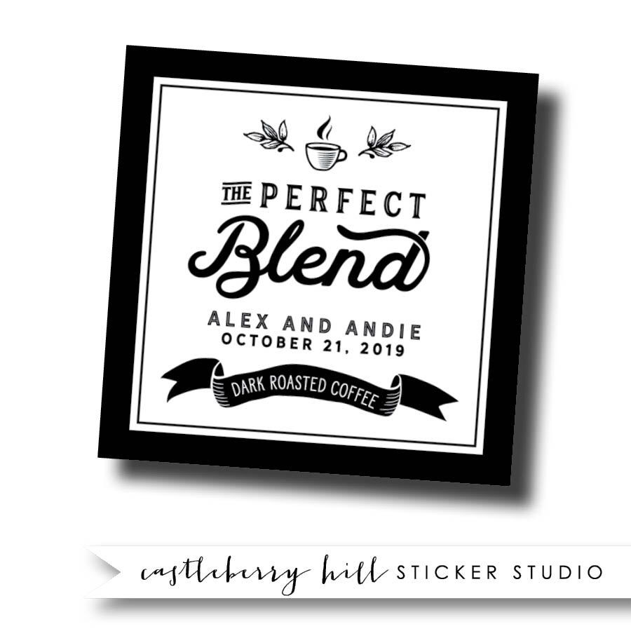 Coffee favors, the perfect blend stickers, coffee favor labels ...