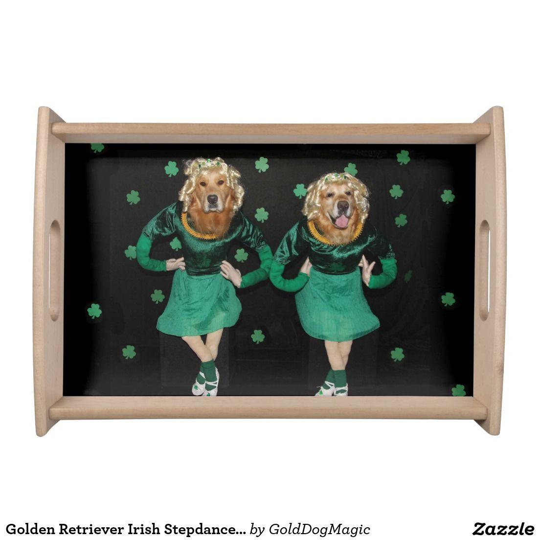 Golden retriever irish stepdancers serving tray zazzle