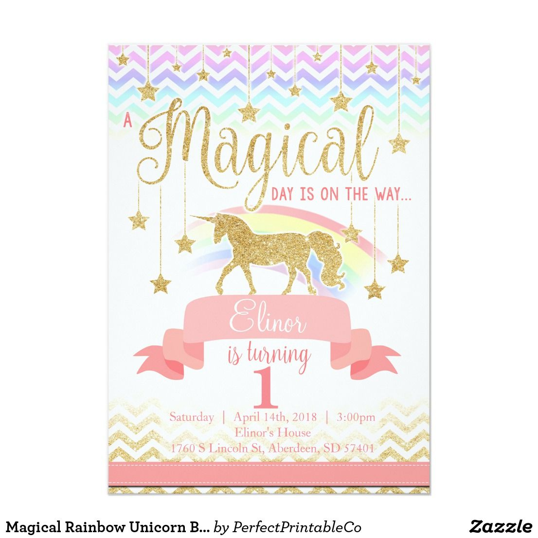 Magical Rainbow Unicorn Birthday Party Invitation | Unicorn birthday ...