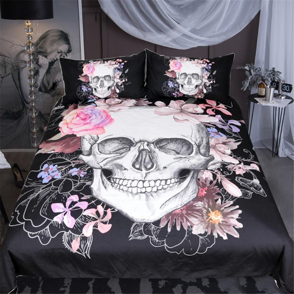 3pcs Bohemian Luxury Skull Comforter Duvet Cover Set Wedding Bedding Set Queen King Twin Full Size Bed Set Pillow Cover Skull Bedding Sets Skull Bedding Flower