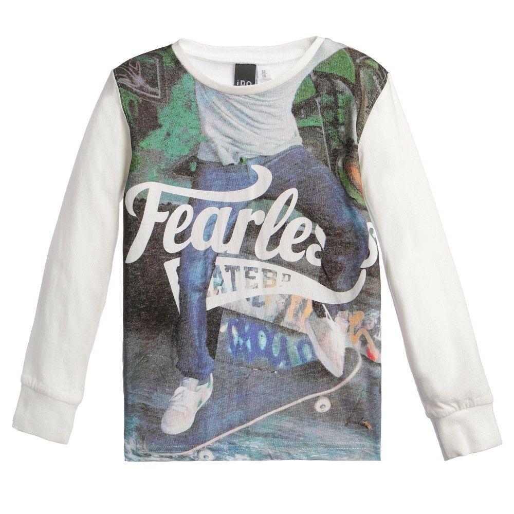 Boys ivory cotton jersey t-shirt by iDo Junior. In a long-sleeve style, the top has a skateboard photographic print on the front and ribbed elasticated cuffs.<br /> <ul> <li>100% cotton (soft jersey)</li> <li>Machine wash (40*C)</li> <li>True to size fitting</li> <li>Long sleeves</li> </ul>