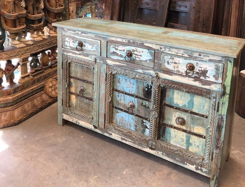 Antique Solid Wood Sideboard Blue Chest Rustic Buffet Cabinet Farmhouse Chic Eclectic Wood Solid Wood Sideboard