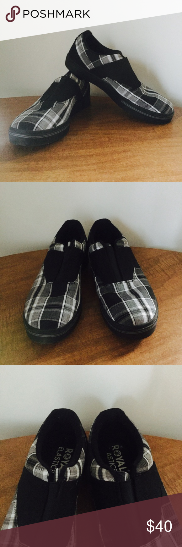Royal Elastics Plaid Slip-Ons These were only worn once for the movie Mockingjay: Part 1. Very popular European brand. Black and white Plaid in a size 9. Very comfortable and soft. Royal Elastics Shoes Loafers & Slip-Ons