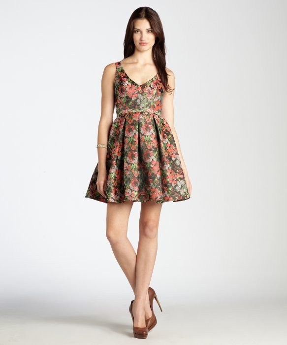 fit and flair pink cocktail dresses | ... pink floral jacquard belted v-neck fit and flare dress : style
