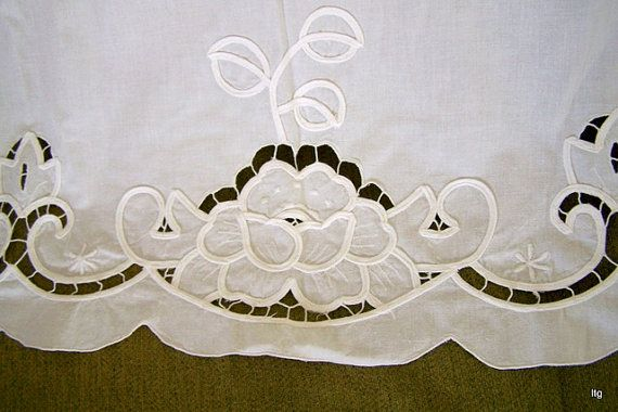 Two Vintage White Battenburg Lace Curtain Panels 30w X Etsy Curtains