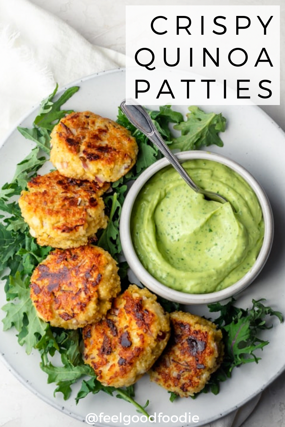 When you're looking for ways to use leftover quinoa, try these easy tasty vegetarian quinoa patties, served with an avocado yogurt dip - perfect appetizer! | Quinoa Recipes | Appetizers | Side Dishes | Vegetarian Food |