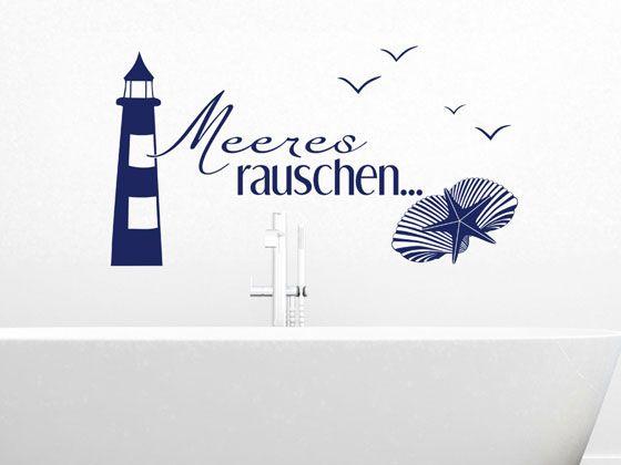 Wandtattoo Badezimmer Meeres-rauschen maritim mit Leuchtturm und - Wandtattoos Fürs Badezimmer