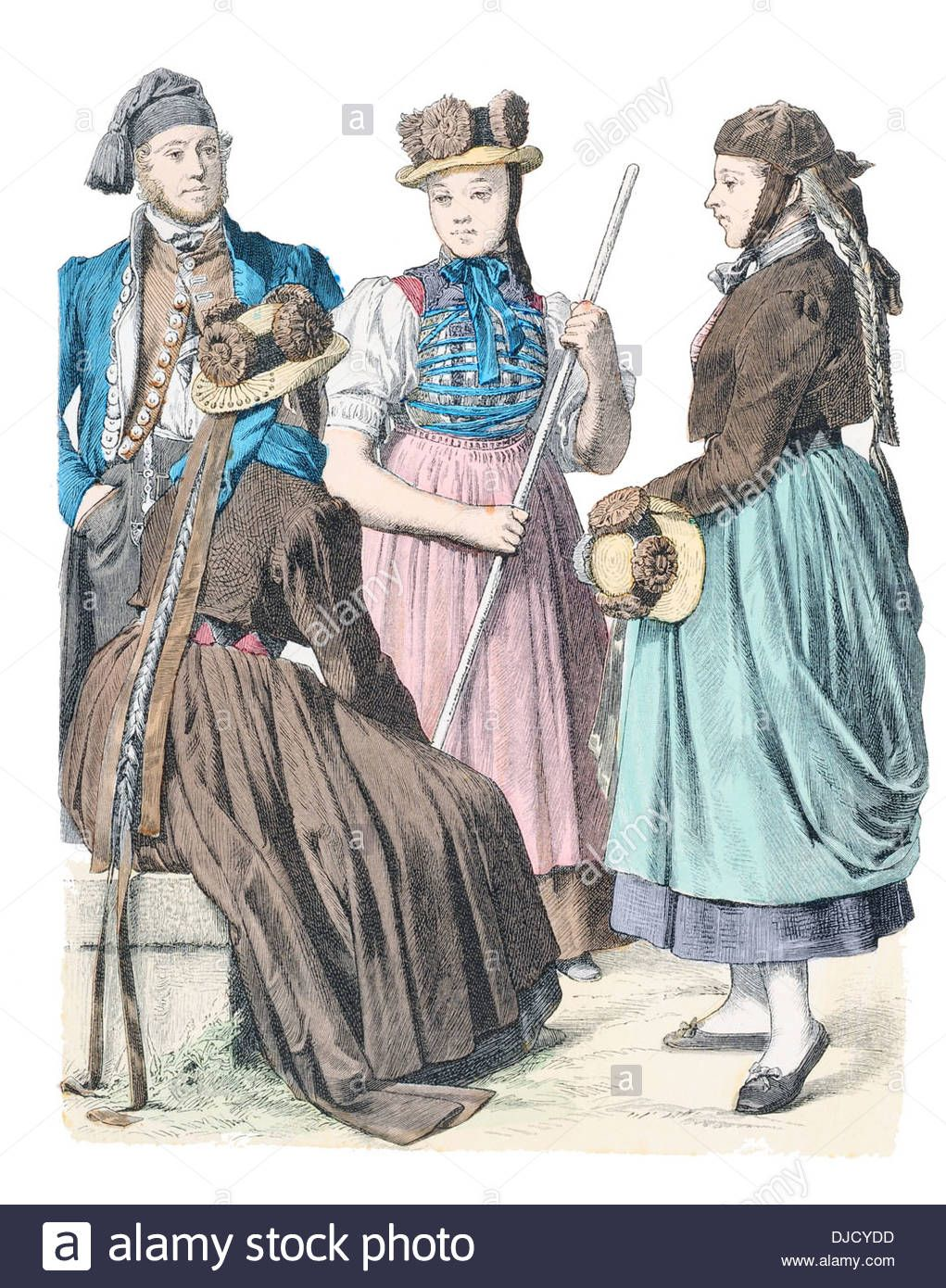 Late 19th Century Xix 1800s Germany Costume Of (left To Right) St Stock Photo, Royalty Free Image: 62979881 - Alamy