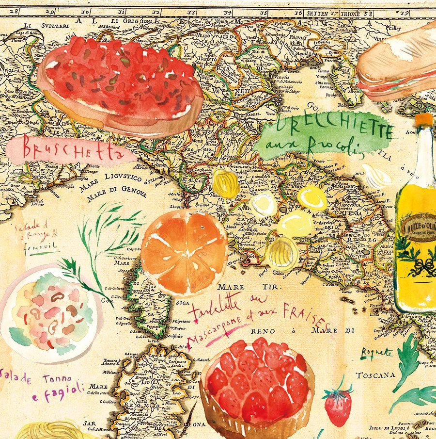 Italian poster, Colorful Italian kitchen wall decor illustration art ...