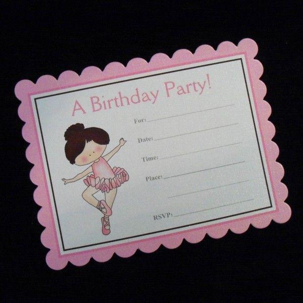 Ballerina Birthday Party Invitations, set of 10 with envelopes. $12.50, via Etsy.