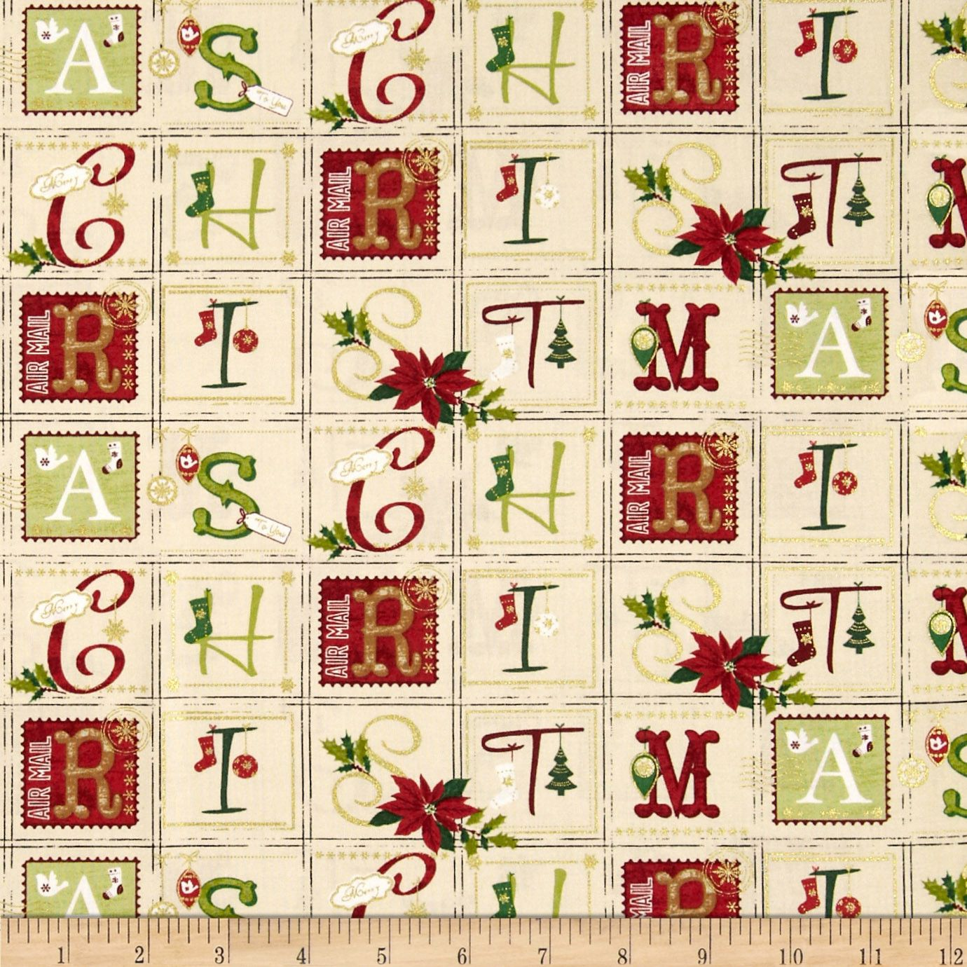 Holiday Magic Very Merry Tan Fabric
