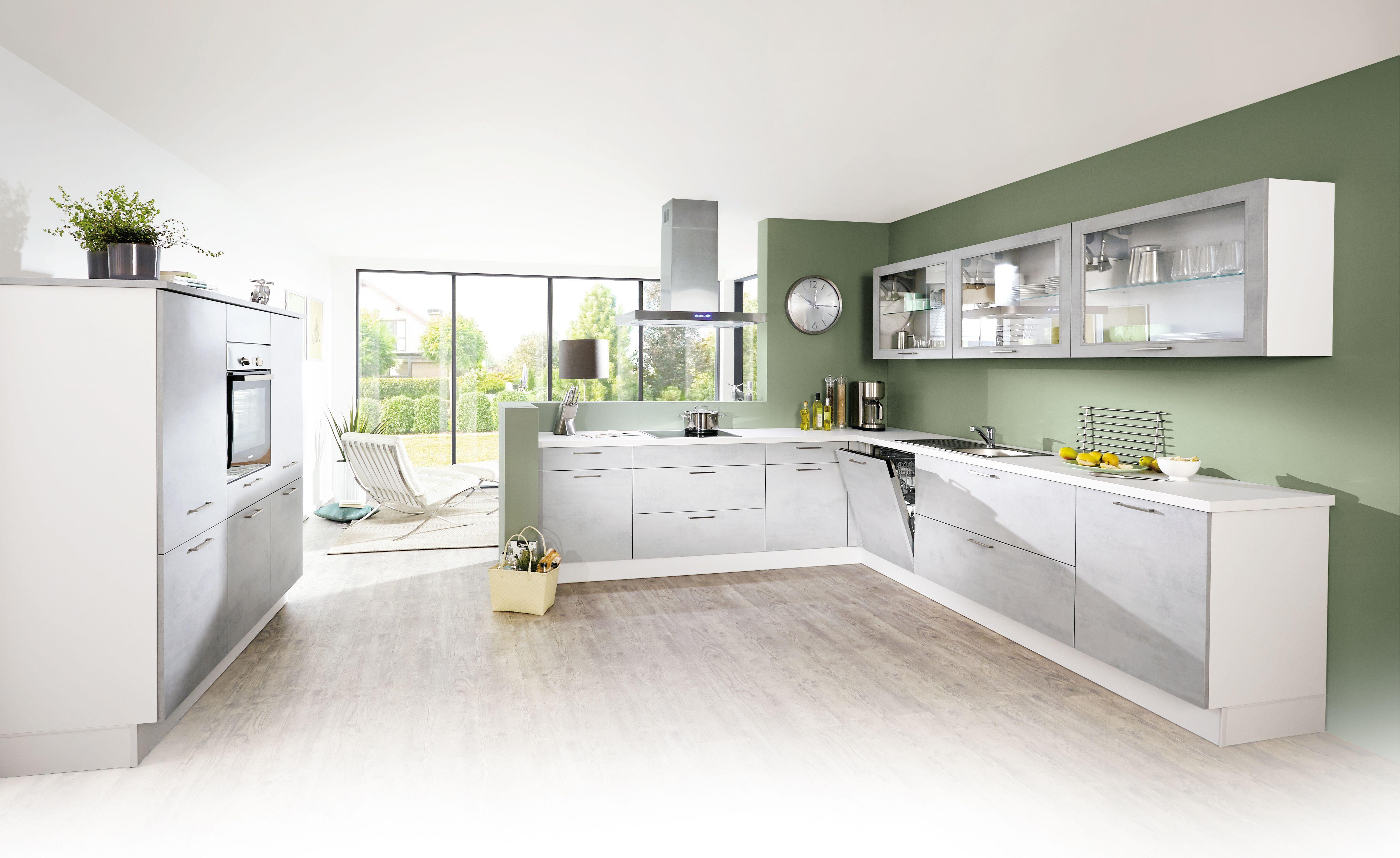 moderne lifestyle k che mit hochwertiger ausstattung und fronten in beton grau nachbildung der. Black Bedroom Furniture Sets. Home Design Ideas