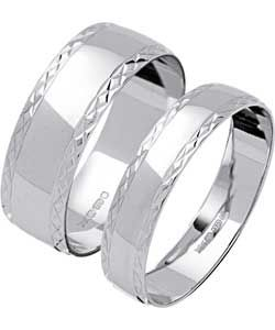 Buy 9ct White Gold Diamond Cut Wedding Ring Set at Argoscouk
