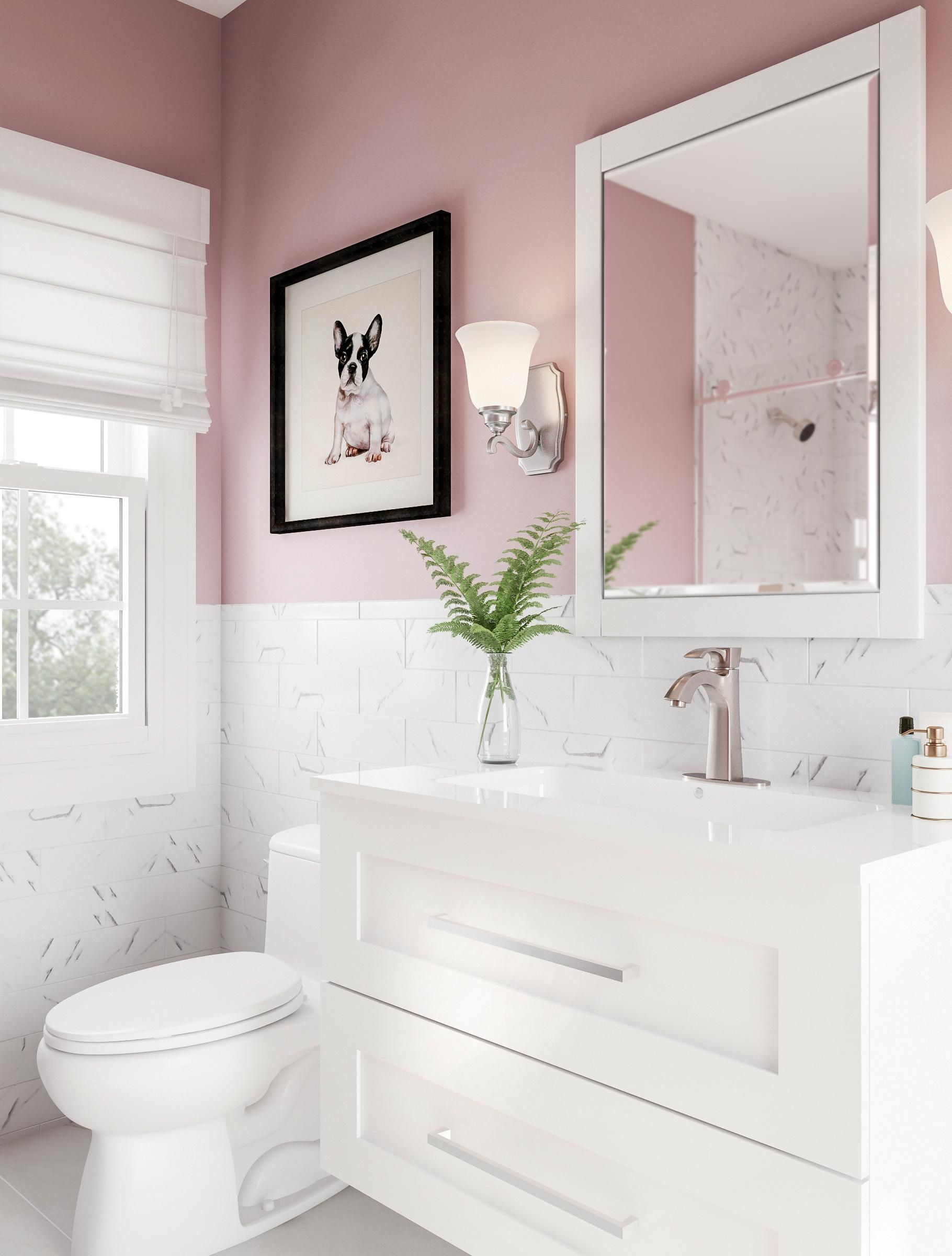 Get Grown Up With Pink Paint The Walls Of Your Bathroom This Rosy