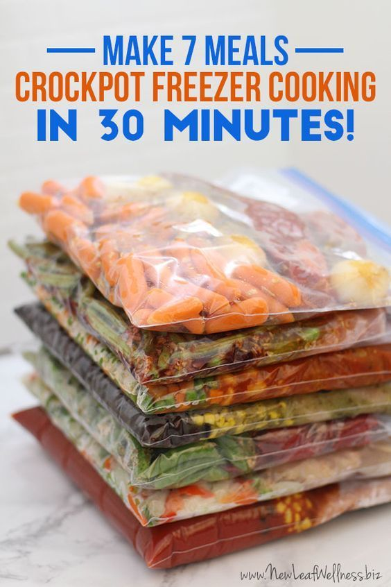 Freezer Cooking - 7 Meals in 30 Minutes Learn how to save time and money with crockpot freezer cooking. These 7 meals can be made in 30 minutes and include easy instructions and a grocery list.Learn how to save time and money with crockpot freezer cooking. These 7 meals can be made in 30 minutes and include easy instructions and a grocery list.
