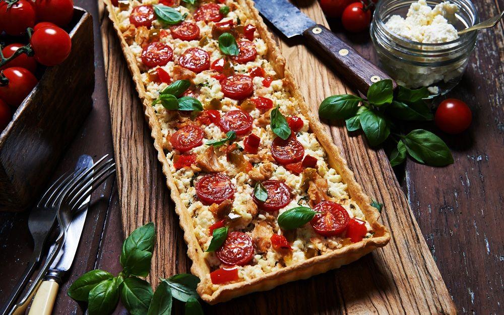 Salmon, Basil, Ricotta And Cherry Tomato Tart