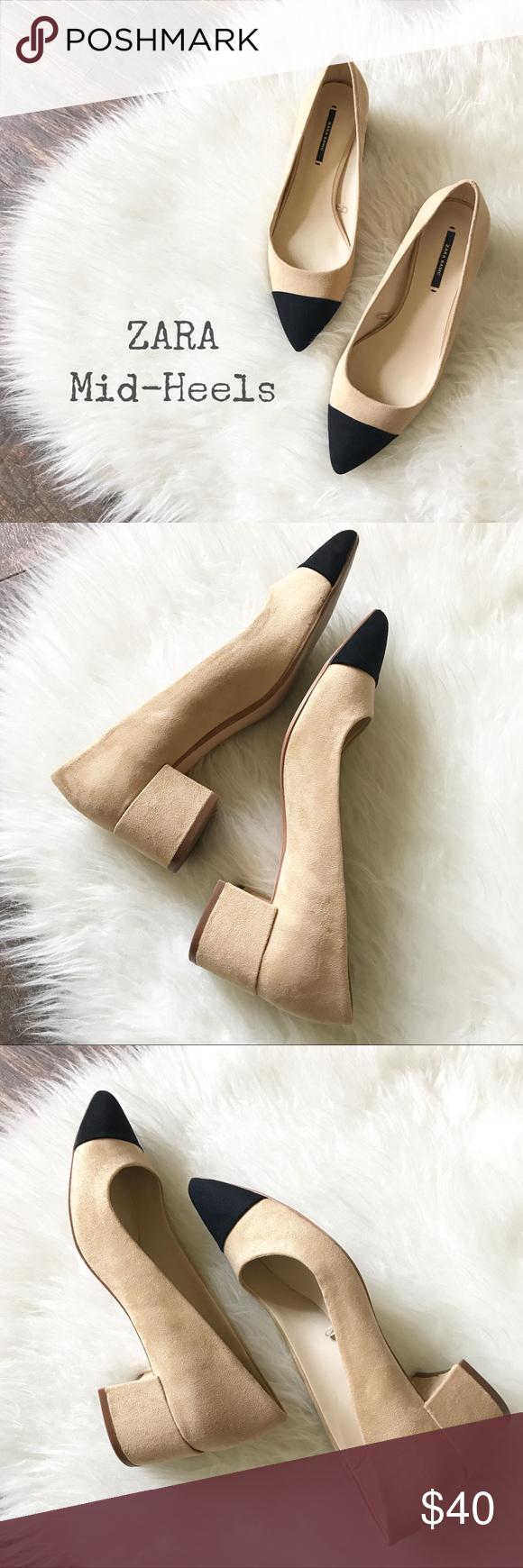25a5b56b0ce0 Mid-Heel Shoes w  Contrasting Toe Cap by ZARA Size 37 EU 6.5 US Zara ...