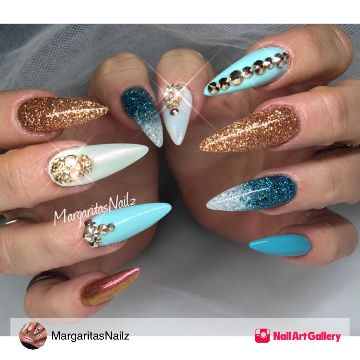Blue And Copper Glitter By Margaritasnailz From Nail Art Gallery Ombre Nails Glitter Copper Nails Fun Nail Colors