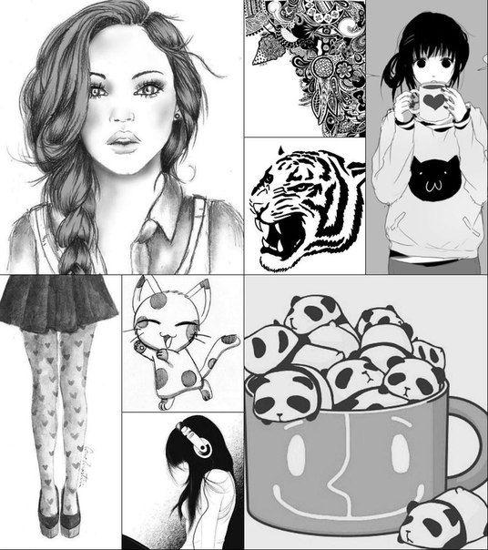 черно-белые картинки для личного дневника фото
