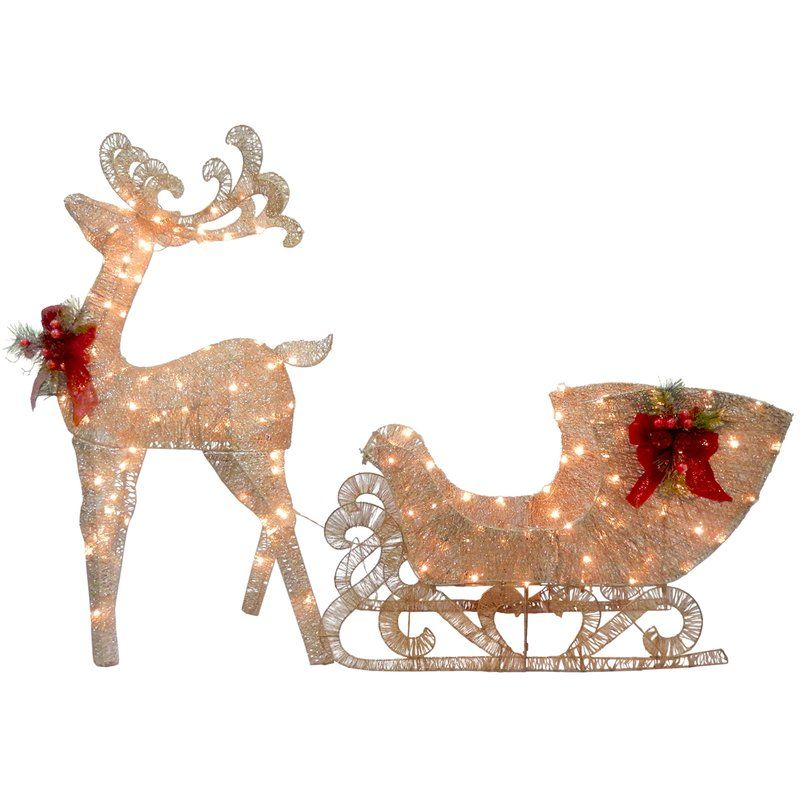Reindeer Pulling Sleigh Lighted Display Decorating With