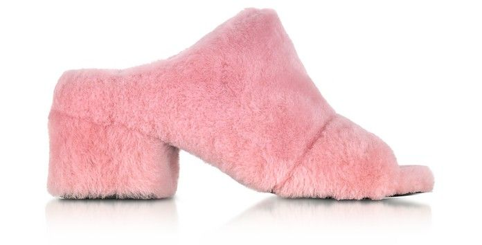 3.1 Phillip Lim Cube Candy Pink Shearling Open Toe Mid-Heel Mules $265.00  $530.00 Actual transaction amount