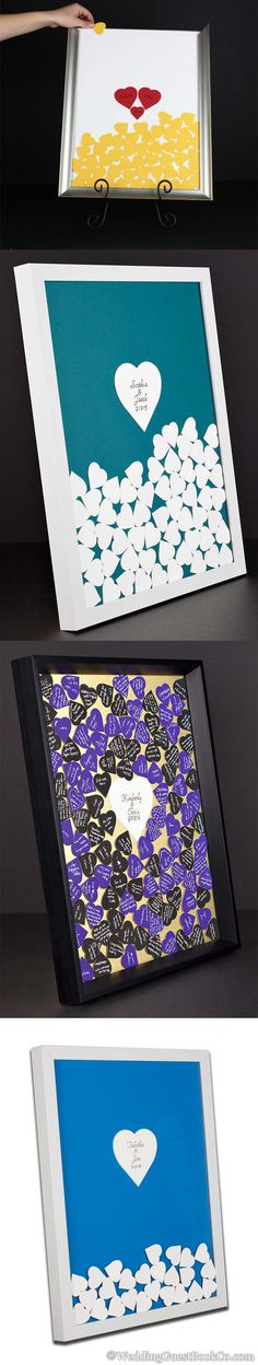 Drop in top wedding guest book frames. Customize your frame style, frame color, heart colors, background, inscription, and shapes. By http://www.WeddingGuestbookCo.com
