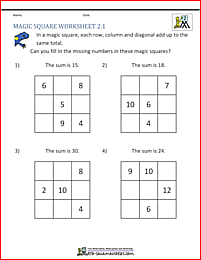 2nd Grade Magic Square puzzle - fill in the missing numbers